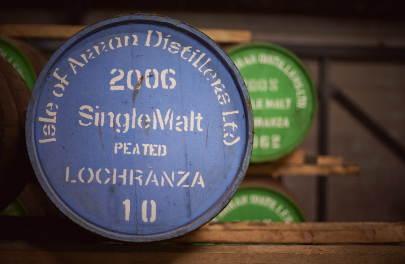 Whisky barrels close up