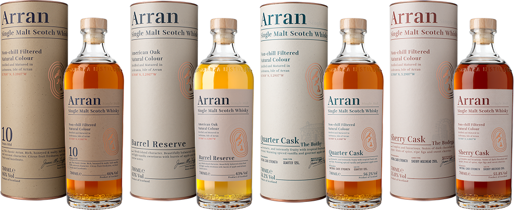 AD Arran Set of 4 Bottles Boxes LE1000px Trimmed PNG