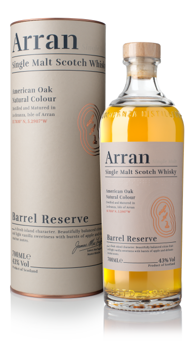 Ad arran barrel reserve bottle box product listing rebrand
